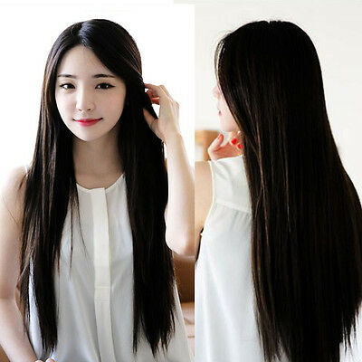 70cm Heat Resistant Womens Lady Long Straight Hair Full Wigs Cosplay Party Black