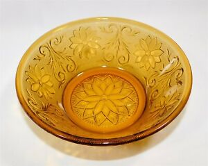 Indiana-Glass-Amber-Daisy-Tiara-Sandwich-Glass-Round-Vegetable-Bowl-8-25-034