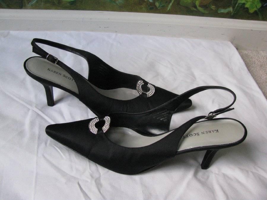 alla moda Karen Karen Karen Scott Donna   nero Heels Satin Leather out-sole Sandal scarpe SZ 10M New  qualità garantita