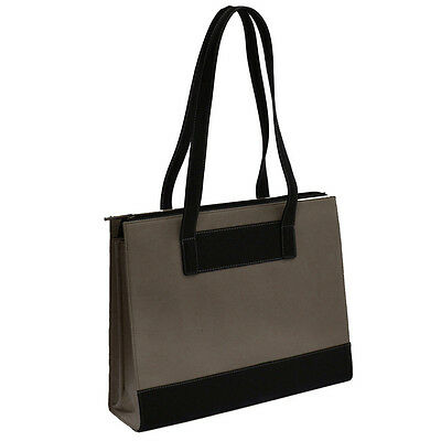 The Runway Leather & Twill Ladies Laptop Computer Tote Bag - Brown
