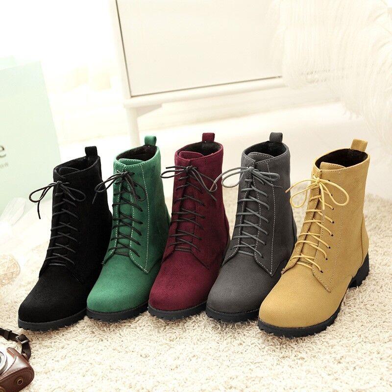 Hot Womens Faux Suede Velvet Low Block Heel Lace Up Ankle Boots shoes Plus Size