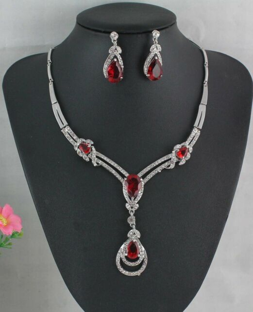 Trendy 18K Red Gold Plated CZ Waterdrop Necklace+Earrings Wedding Jewelry Sets