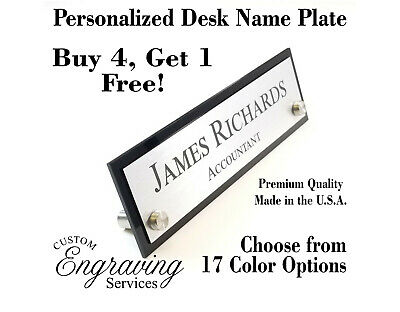 DESK NAME PLATE for office desk sign plaque EXECUTIVE Custom Engraving Services