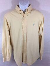 Ralph Lauren Button Classic Fit Shirt Sz L EUC - Pale Yellow w Dark Blue Pony