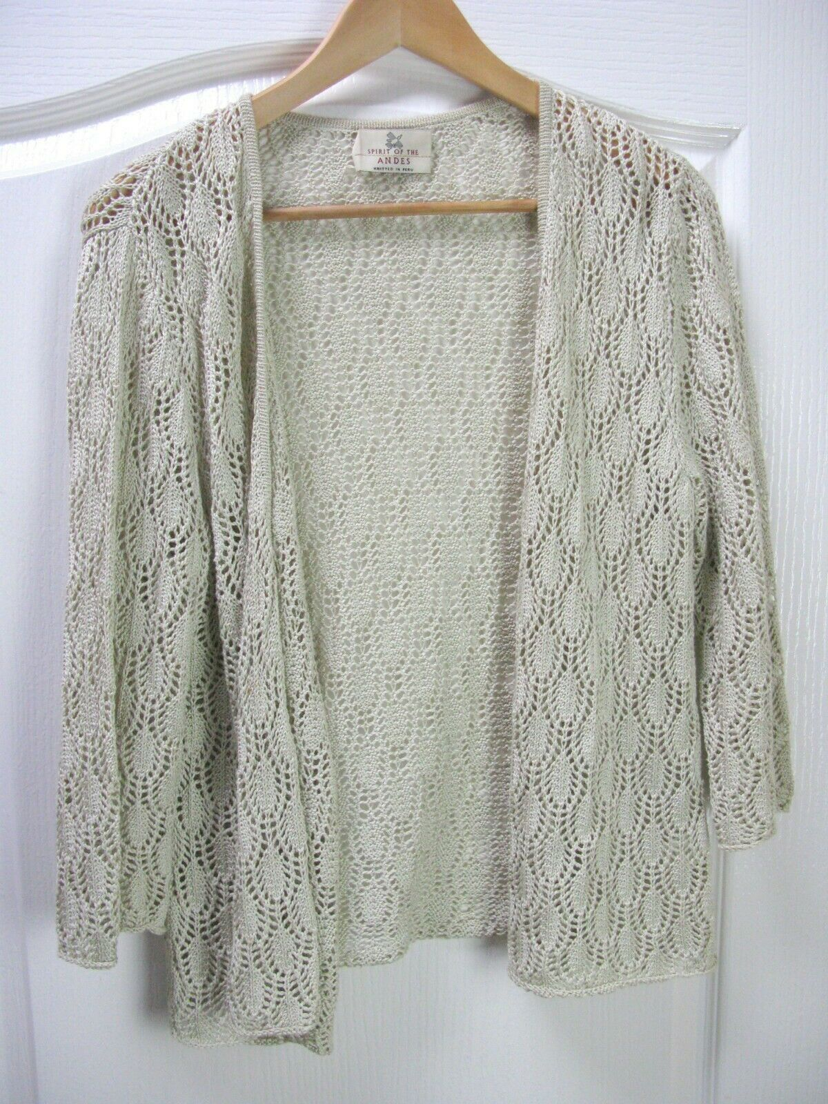 Peruvian SPIRIT OF THE ANDES Beige Crochet Cardigan Hand Knitted Peru - Medium