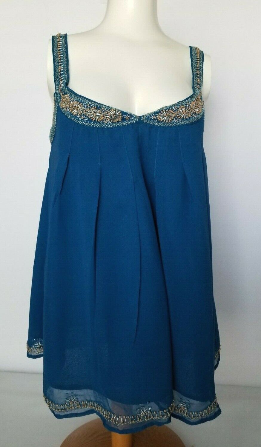 French Connection Camisole Top Blau Beaded Embellished Border Lined Größe 6 NEW