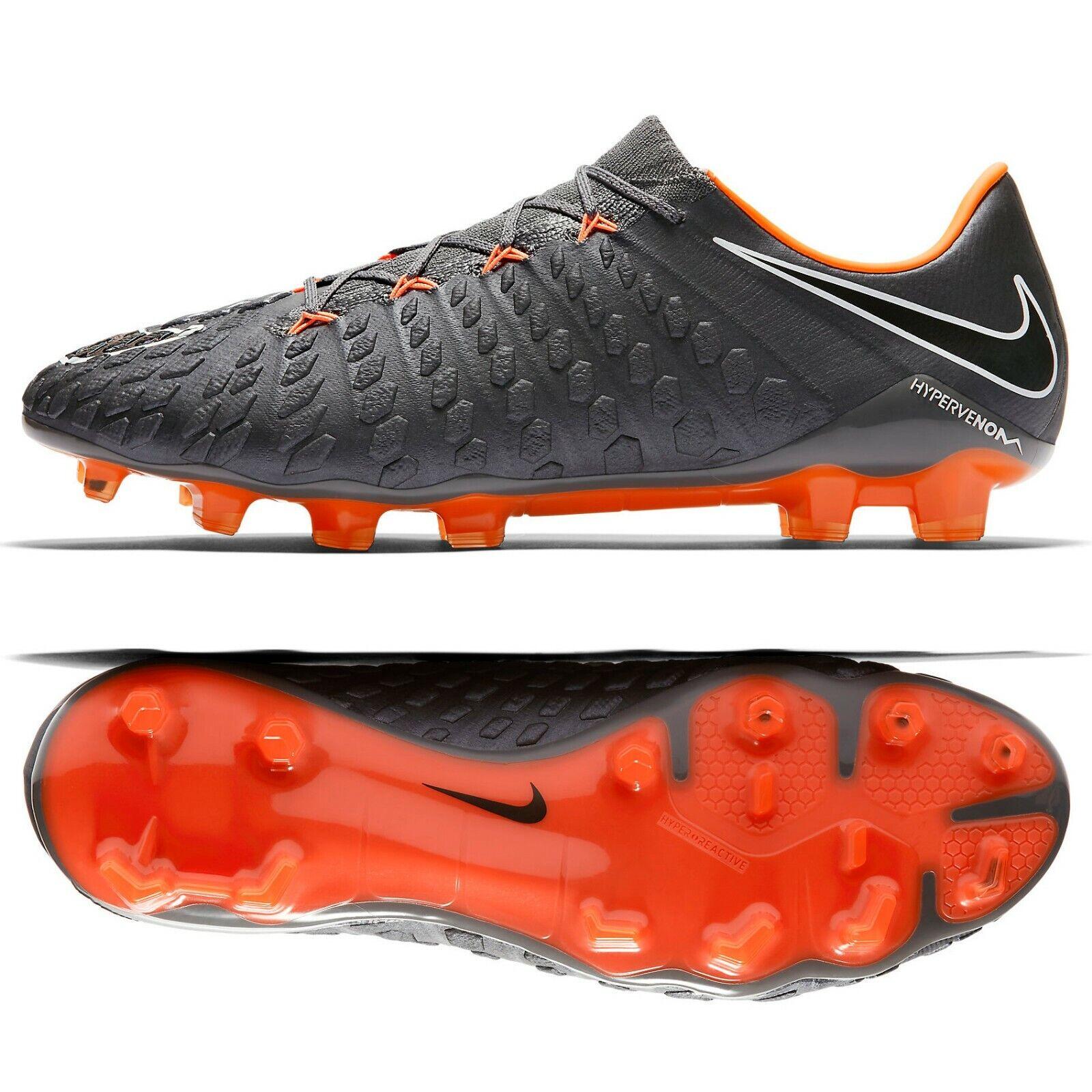 Nike Hypervenom Fantasma III Elite Fg AH7273-081 gris Naranja Para Hombre Botines De Fútbol