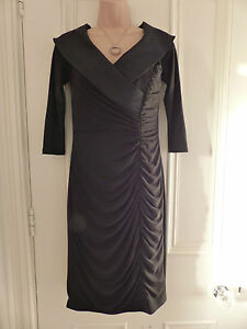 Absolutely-stunning-Adrianna-Papell-UK10-black-silky-stretchy-dress-large-collar