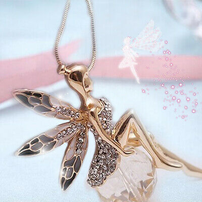 New Elegant Women Crystal Gold Fairy Angel Wing Pendant Necklace Chain Jewellery