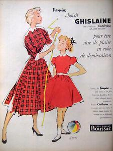 PUBLICITE-DE-PRESSE-1954-FRANCOISE-CHOISIT-GHISLAINE-100-VISCOSE-COURONNE