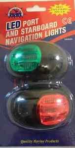 Navigation-Lights-12-Volt-LED-Boat-Port-amp-Starboard-Black-Approved-to-20-Metres