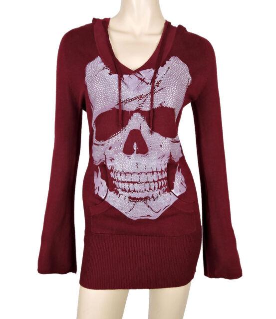 Sugar Rock Women V-neck Hoodie Sweater Shirt Long Bell Sleeves Skull Burgundy