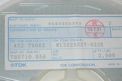 TDK NL322522T-022K RF Inductor Unshielded WW 0.022UH 5/% 1210 SMD Qty-100
