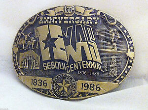 Very-Rare-Texas-Sesquicentennial-Belt-Buckle-Solid-Brass-Hand-Carved-Low-Numbers