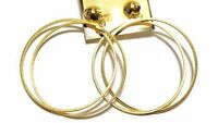 Clip-on Earrings Double Hoop Textured Gold Or Silver Tone 2.75 Inch Hoops