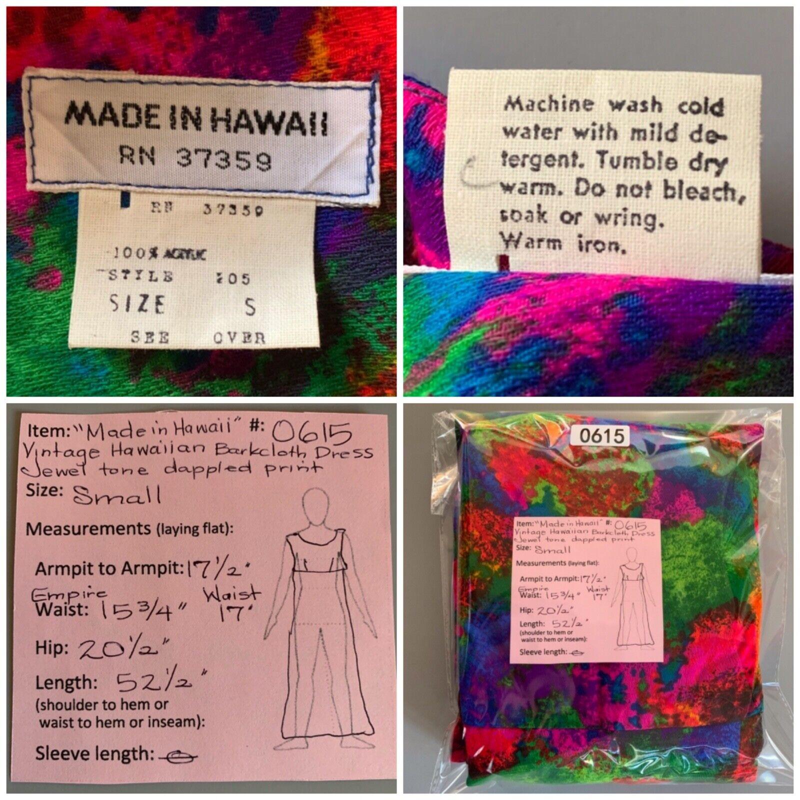 """""""Made in Hawaii"""" Vintage Barkcloth Maxi Dress Jewel Tones"""