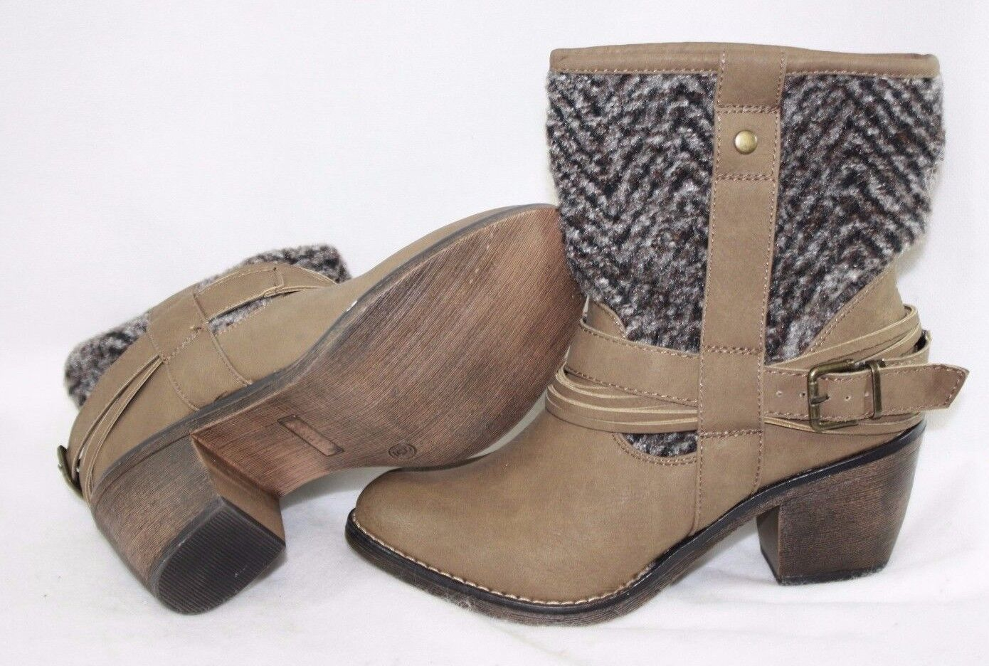 "NEW Womens LIMELIGHT Colorado Taupe Wool Look 2"" Heels Ankle Boots Shoes"