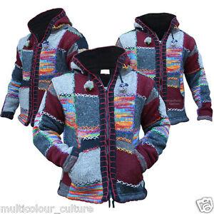 Multi Coloured Festival Wool Patchwork Knit Hippie Hoodie Jacket Boho Cardigan