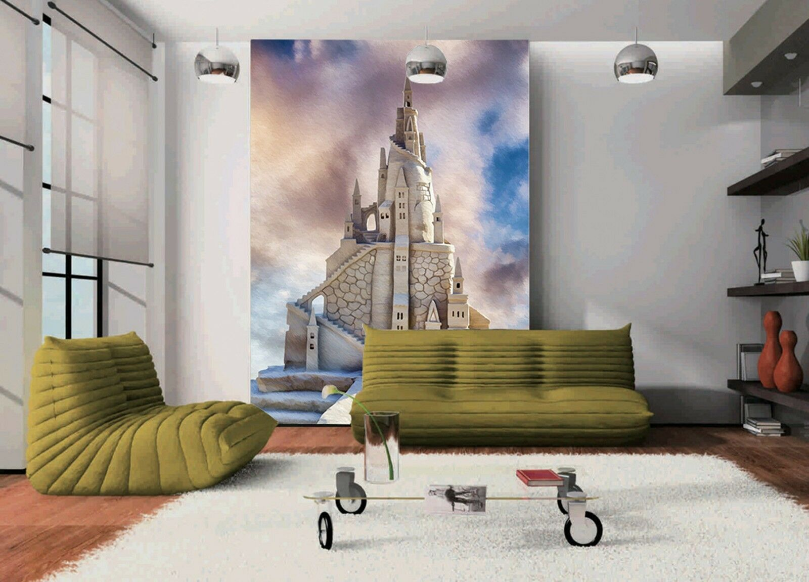 3D Weiß castle buildin Wall Paper wall Print Decal Wall Deco Indoor wall Mural