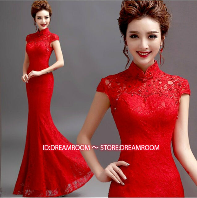 Y279 Red Chinese's Cheongsam Lace Evening Prom Party Mermaid skirt Ball Gown