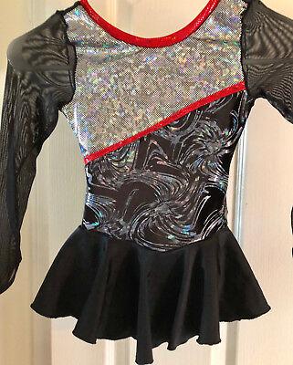 Ice Skating Hard-Working New Ice Figure Skating Dress Costume Twirler/dance/roller Tot Size 4 Black/red