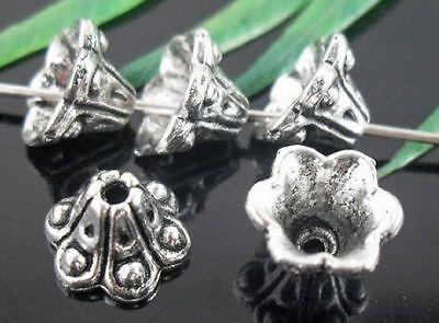 60/220Pcs Tibetan Silver Flower-Dot End Bead Caps 9x6mm