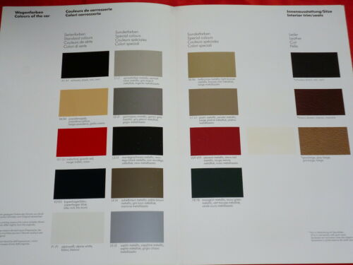 PORSCHE 924 colori e l/'arredamento mappa dei colori prospetto di 1983
