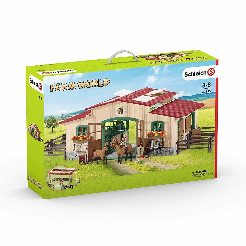 Schleich stall med häst och accessoarer spela Set - Farm värld leksak Barn Farm