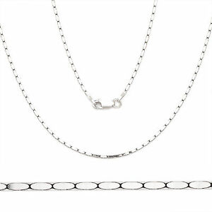 .925 Italy Sterling Silver 1.2mm Flat Boston Cardano Link Italian Chain Necklace
