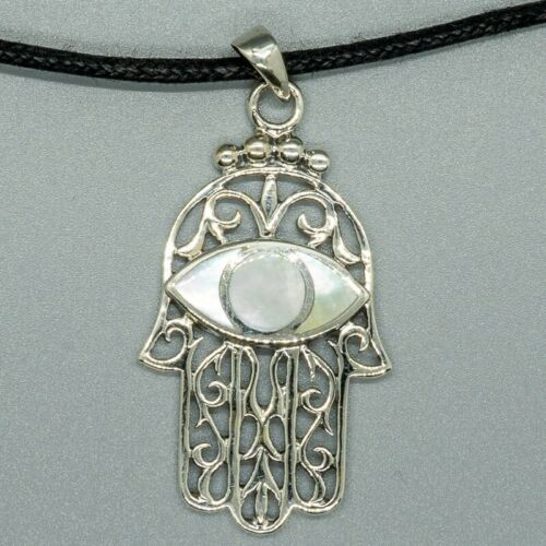 Hamsa Hand Pendant 925 Silver Amulet Fatima Luck Yoga Buddha Eye mother of pearl