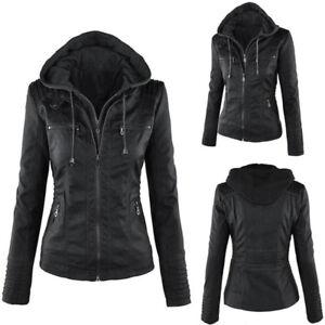 1-PC-Women-Leather-Hooded-Jacket-Slim-Parka-Overcoat-Winter-Outwear-Coat