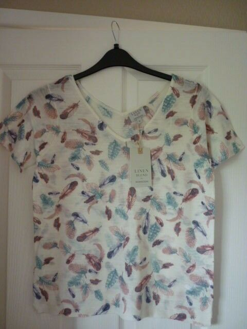 MONSOON IVORY MULTI FEATHER LINEN MIX TOP. MED UK 12-14, EUR 40-42, US 8-10 BNWT