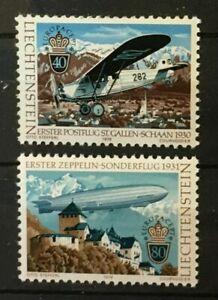 Zeppelin-Mail-Plane-Europa-mnh-set-2-stamps-1979-Liechtenstein-663-4-dirigible
