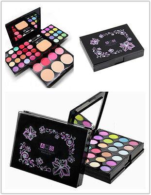 Pro Warm Colors Matte Shimmer Eyeshadow Palette Makeup Kit Set + Brush Mirror