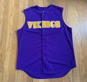 Minnesota-Vikings-Vintage-Majestic-Sleeveless-Baseball-Jersey-Purple-Size-L-Rare