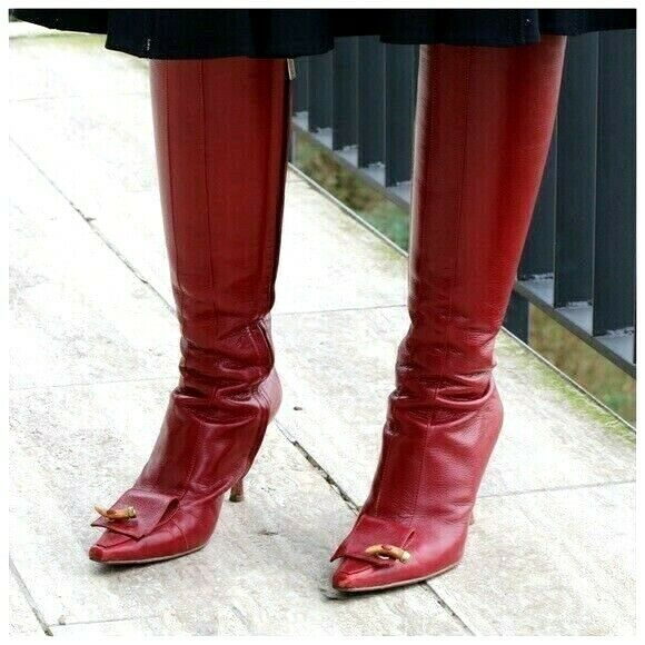 Jimmy Choo en cuir rouge bottes hautes hautes hautes taille 38 9d3a31