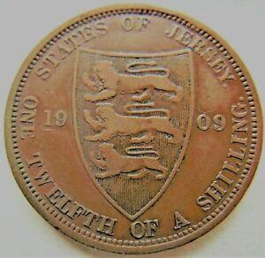 1909-Jersey-Edward-VII-1-12-Shilling-Grading-About-VERY-FINE-FINE