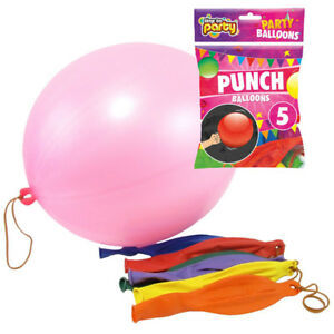 Packs-Of-5-Assorted-Colour-Plain-18-034-Stretchy-Punch-Balloons-With-Bands