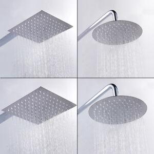 WELS-Round-Square4-6-8-10-12-Rain-Shower-Head-Swivel-Gooseneck-Wall-Arm-Set-AU