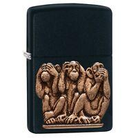 Zippo 3 Monkeys-see, Hear, Speak No Evil Black Matte Emblem Lighter, 29409