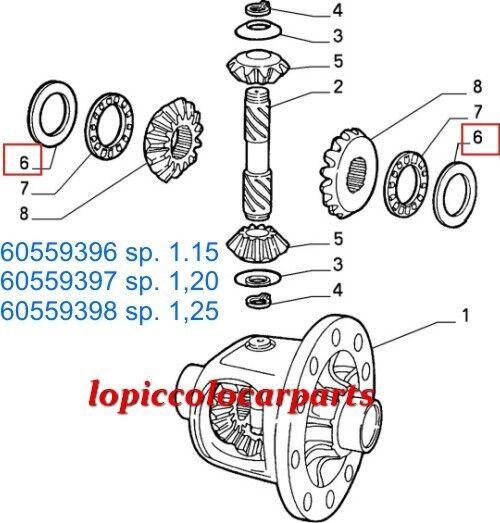 60559397 Spessore 1,20 Registro Differenziale Alfa Alfa 33 dal 88>94 Alfa Differenziale 145/146 OR 25836f