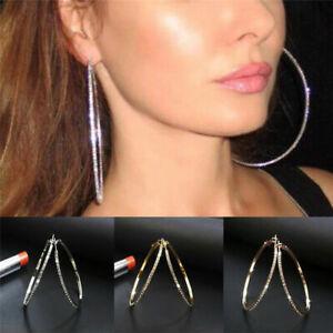 Fashion Women Lady Crystal Diamante Rhinestone Plated Hoop Big Round Earrings