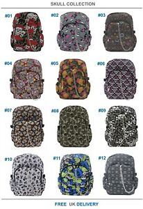 SKULL-SUGARSKULL-Backpack-Rucksack-Cool-School-College-Goth-Emo-Punk-Rock-Bag
