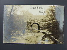 Woodman Wisconsin WI River Bridge Scene Real Photo Postcard RPPC c1910