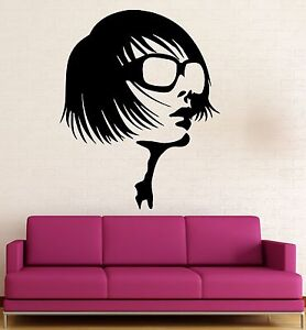 Beauty-Salon-Wall-Stickers-Sexy-Girl-Glasses-Fashion-Style-Vinyl-Decal-ig565