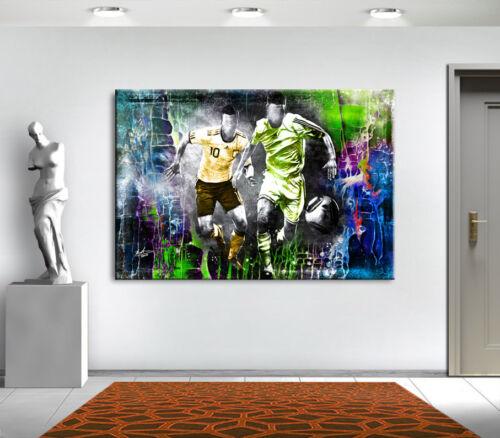 Fussball Abstrakt XXL Wandbilder Fußballspieler Bilder auf Leinwand Kunst 2074A