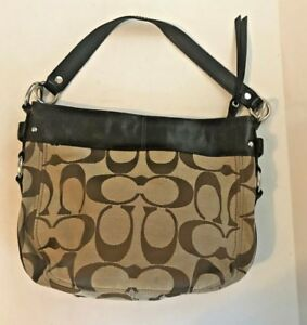 75c01739f9 Image is loading COACH-Brown-Camel-Signature-Jacquard-And-Leather-Zoe-