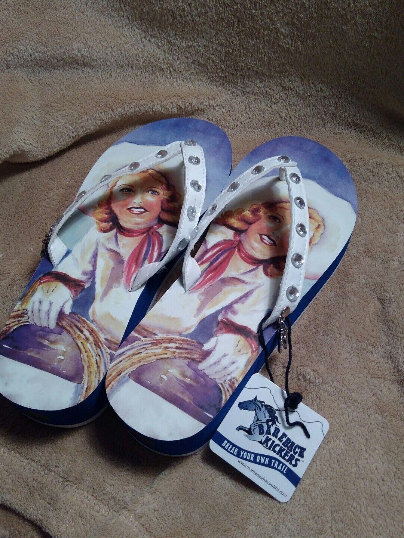 Bareback Kickers Vintage Cowgirl Flip 6 Flops Thongs Size M 6 Flip 7 SkuSM1OP1 034fc9