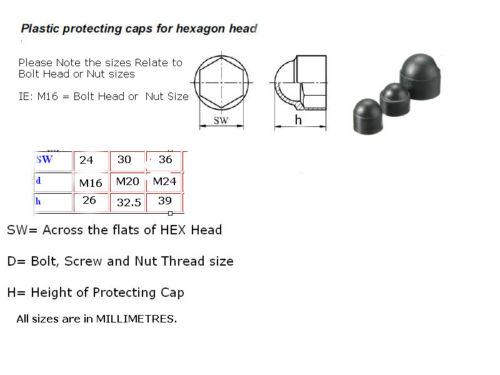 M16 M20 M24 Nero in Plastica a cupola esagonale Bullone Dado Coperture Tappi di Protezione HEXAGON 01