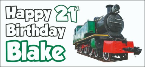Steam Engine Train 21st Birthday Banner X2 Decorations Husband Dad Mens ANY NAME